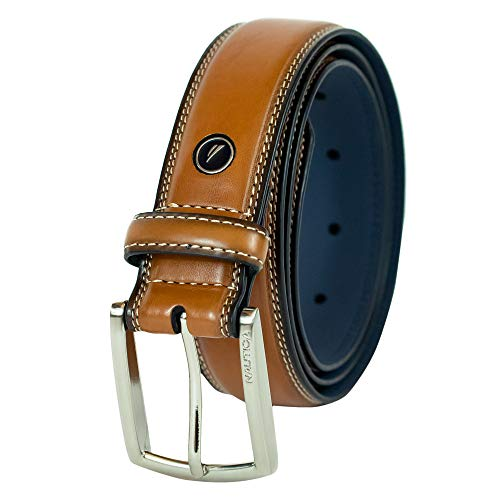 Nautica Men's Belt with Dress Buckle and Stitch Comfort,Cognac,44 from Nautica