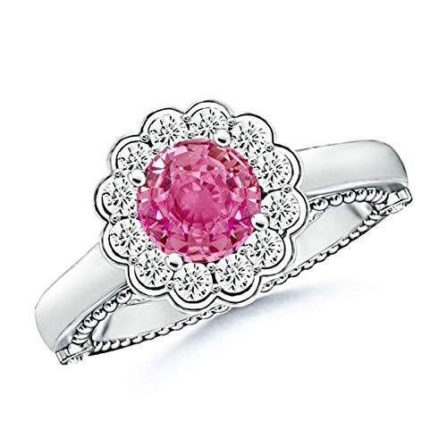 Vintage Inspired Pink Sapphire and Diamond Floral Ring in 14K White Gold (6.5mm Pink - Sapphire Floral Inspired Ring