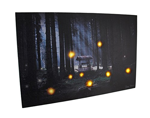 Zeckos Canvas Prints Enchanted Forest Flickering Led Lighted Canvas Wall Hanging 24 X 16 X 0.75 Inches Black