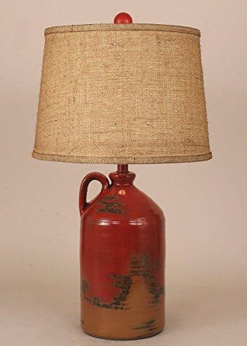 Handle Pottery Jug Table Lamp - Firebrick