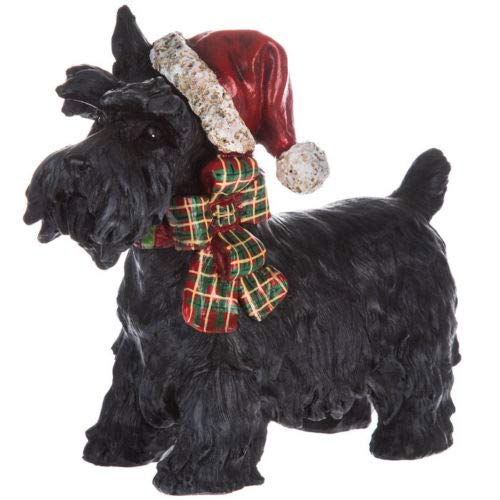 Scottie Dog with Santa Hat Scottish Terrier Plaid Christmas Black 8in x 6.25in