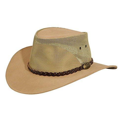 Jacaru Men s Genuine Cowhide Leather Summer Breeze Outback Hat e4585821fba