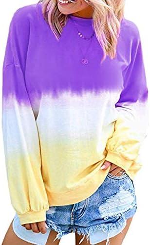 Eternatastic Women's Casual Color Block Tie Dye Crewneck Long Sleeve Loose Pullover Sweatshirt Tops