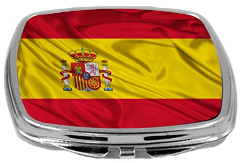 Rikki Knight Compact Mirror, Spain Flag by Rikki Knight