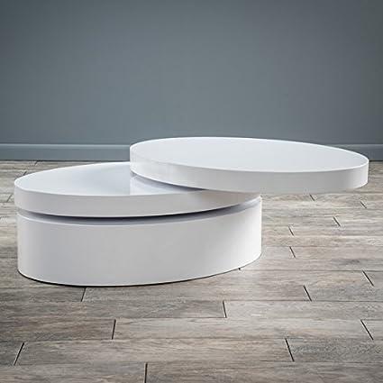 Merveilleux Small Oval Mod Rotatable Coffee Table