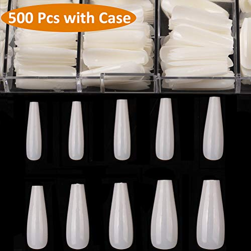 Curve Nail Tips - Long Coffin Fake Nails - Full Cover Natural Ballerina False Nail BTArtbox 500 Pcs Acrylic Nail Tips with Case, 10 Sizes