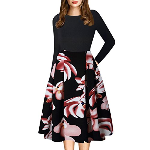 Floral Puffy Work Vintage Pockets Swing Patchwork Women's Party Casual 12 Caracilia Dress qagw7vx7