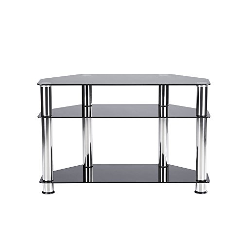 RFIVER Black Tempered Glass TV Stand Suit for LED, LCD, OLED and Plasma Flat Screen TVs up to 37-Inch,Black Glass and Chrome tube TS1002