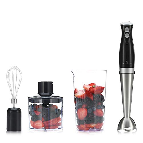 Self-Mate 3 in 1 Dual Speed Immersion Hand Blender Kitchen Set – Stainless Steel 300W Electric Mixer Blending Stick with Interchangeable Whisk Wand, Food Processor Chopper & Beaker Attachments