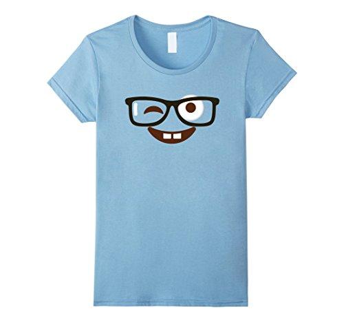 Womens Emoji Shirt Halloween Costume Nerd Glasses Emoji Buck Teeth Small Baby Blue