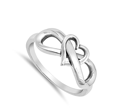 Oxidized Heart Infinity Love Knot Promise Ring Sterling Silver Band Size 6 by Sac Silver (Image #1)