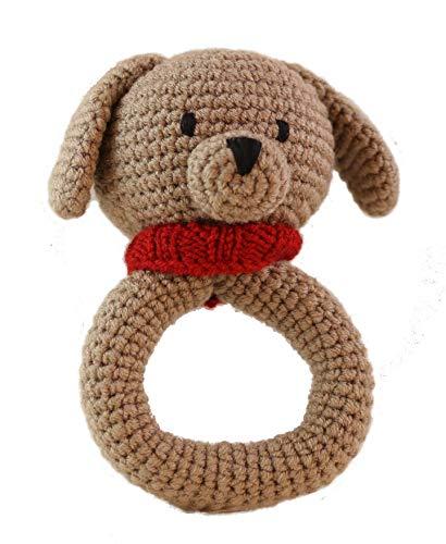 Chomar the Puppy, Crochet Stuffed Animal Rattle ()