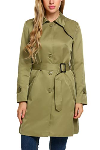 (ELESOL Women's Elegant Jacket Silm Long Trench Coat Army Green S)