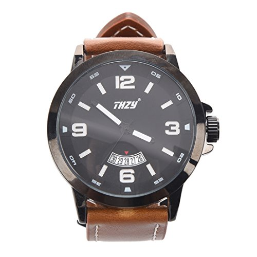 Men's Watches, THZY Waterproof Classic Casual Business Fashion Analog Quartz Wrist Watch with Calendar Date Window, Comfortable Leather Band (Black Dial / Brown Band)