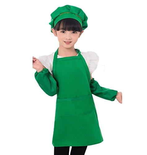 Nanxson Unisex Children Apron Painting Playing Apron Hat Sleeves Set CF3013 (green)