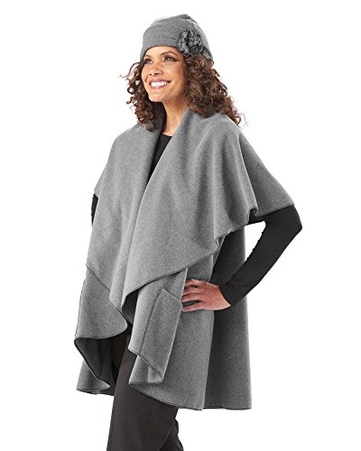 (Janska Annie's Wrap - Women's Fleece Shawl with Cascading Collar and Large Pockets - One Size Fits All (OS, Gray))