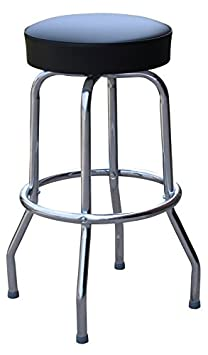 Richardson Seating 0-1950BLK Backless Swivel Bar Stool with Chrome Frame and Seat, Black, 30