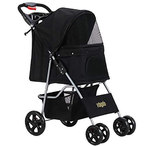 VIAGDO Dog Stroller, Pet Strollers for Small Medium Dogs & Cats, 4 Wheels Dog Jogging Stroller Folding Doggy Stroller with Storage Basket for Dog & Cat Traveling Strolling Cart (Black)