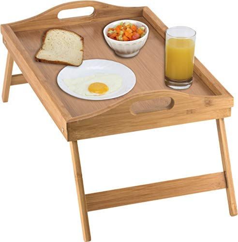 (Home-it Bed Tray table with folding legs, and breakfast tray Bamboo bed table and bed tray with legs )