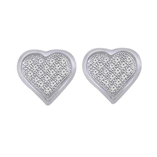 0.10 cttw Round Natural Diamonds Heart Shape Stud Womens Earrings 925 Sterling Silver