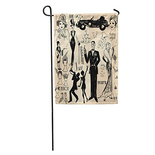 Semtomn Garden Flag 1920S Retro Women and Men of Twenties Sketch 20S 30S Home Yard House Decor Barnner Outdoor Stand 28x40 Inches Flag -