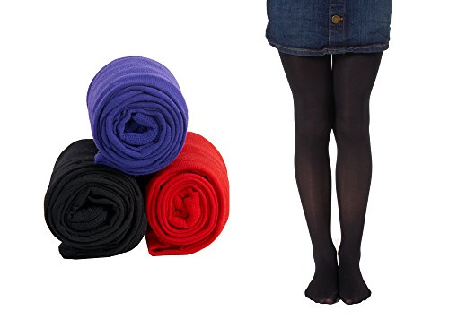Mallary Girls Microfiber Tights 3-Pack Purple, Red, Black 2 to 4