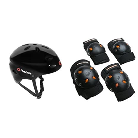 259fb2fd933 Image Unavailable. Image not available for. Color: Razor V-17 Youth Multi-Sport  Helmet Bundle