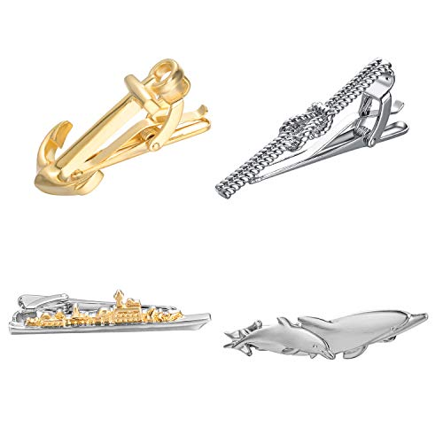 Yoursfs Fun tie 4 Piece Set Gold and Silver Fashion Metal tie Clip Nautical Series Anchor and Rope Knot and Boat and Dolphin tie Clip Personality Friend ()