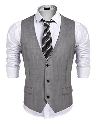 Jinidu Men's Business Suit Vest,Slim Fit Skinny Wedding Formal Waistcoat (Grey, - Suit For Men Professional