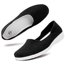 hash bubbie Women's Casual Sneakers Slip on Mesh Tennis Shoes Work Nurse Flat Shoes(8.Black)
