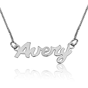 Personalized 925 Sterling Silver Name Necklace Pendant Smooth Style Jewelry Chain Necklace Gift