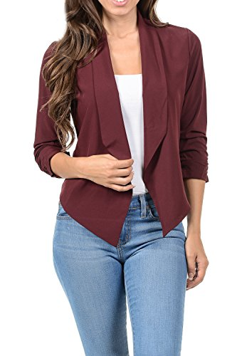 Auliné Collection Womens Casual Lightweight 3/4 Sleeve Fitted Open Blazer Burgundy XL