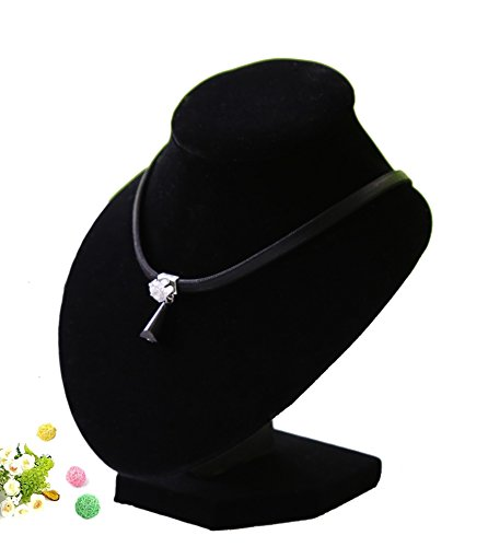 Jewelry Bust Necklace Pendant Display - Wuligirl 3-Dimensional Black Velvet Necklace Pendant Chain Jewelry Bust Display Holder Stand (5.90 inch(Suitable for 31cm /12.20in necklace))