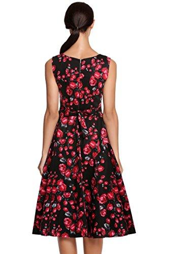 Soire de Manches ACEVOG 1950's Audrey Vintage Sans 2 Fleur Robe Hepburn Pin up Robe SqBRw6SnA