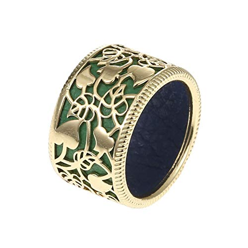 KOAEM Women's Rings Hollow-Carved Design Floral Wedding Ring with Reversible Leather