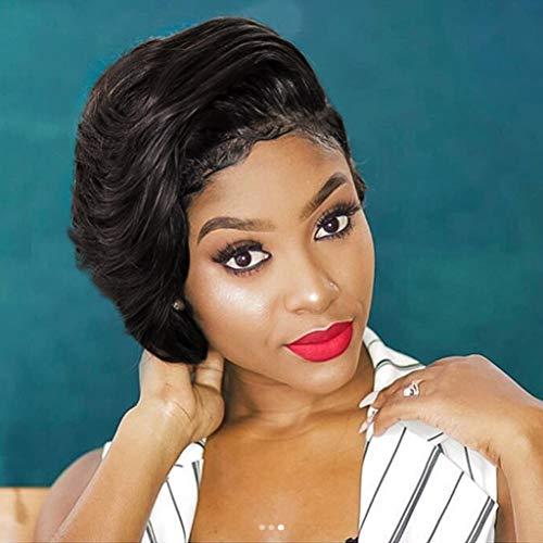 Dumanfs 70s Wigs For Women, Fashion Synthetic Short Afro Curly Black Wig For Brazilian Afro Women -