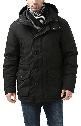 Single Handle Flap - BGSD Men's Tommy Hooded Waterproof Down Parka Coat - L Black