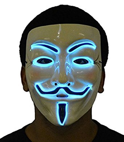 JenniWears V for Vendetta Guy Fawkes LED Anonymous Rave Mask EL Wire Blue (Halloween Rave)