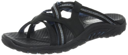Skechers Women's Reggae-Soundstage Thong Sandal,Black,8 M US