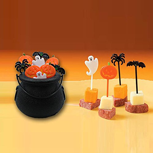 [72 Plastic Halloween Picks with Decorative Witch Cauldron Holder] (Cute Halloween Appetizers)