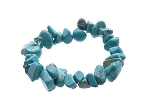 Fundamental Rockhound Products: Turquenite Gemstone Chunky Chip Bracelet Stretch w/Pouch