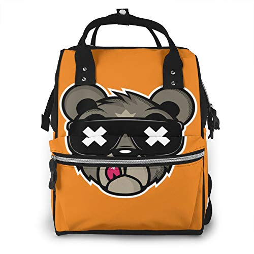 Crew Five Cali Bear On Behance Mummy Backpack 11.1x 7x15.7 In Twill Waterproof Canvas Production With Waterproof Pockets.Suitable For Babies To Play With A Lot Of Things When Going Out.
