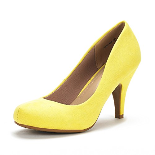 (DREAM PAIRS ARPEL Women's Formal Evening Dance Classic Low Heel Pumps Shoes New Yellow Size 7.5 )