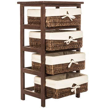 Storage Natural Maize Basket (Home Paradise Brown Shelf Unit Storage with Fabric-Lined Baskets, Natural Brown)