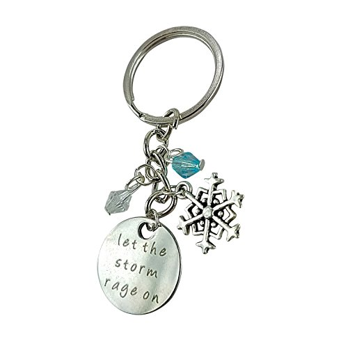 Art Attack Silvertone Let The Storm Rage On Snowflake Christmas Snow Turquoise Bead Pendant Keychain