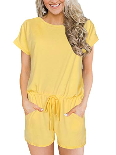 Alaroo Womens Soft Rompers Solid Jumpsuits Loos Breathable Summer Clothes Pockets Yellow XL