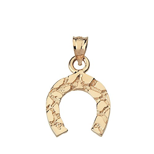 Lucky Nugget Horseshoe Charm Pendant (14k Yellow-Gold) (Nugget Yellow Pendant 14k Gold)