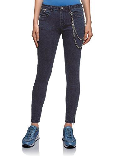 Blu Oodji Su 7900w Con Cerniere Jeans Donna Skinny Ultra Gambe 8Ywvq8U