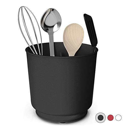 Extra Large and Sturdy Rotating Utensil Holder Caddy with No-Tip Weighted Base, Removable Divider, And Gripped Insert…