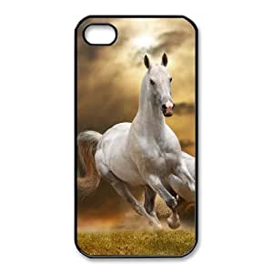 Hat Shark Snap On White Horse Running Galloping Through Grass ,TPU Phone case for iphone4 4s,black